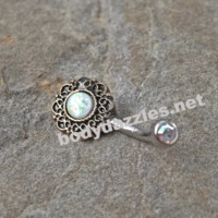 Tribal White Opal Bronze Belly Button Navel Ring Body Jewelry Fits in Navel 14ga Cute Belly Ring