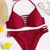 Halter Top With Ladder Cut-out Bikini Set