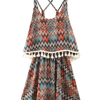 Multicolor Strappy Chevron Print Layered Tassel Trim Mini Dress