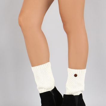 Solid Single Button Leg Warmers