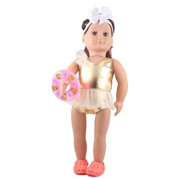 Swimming Pool beach fashion Golden Swimsuit+Shoes+swim ring for 18 inch American girl doll clothes fit 43cm Baby Born zapf doll clothing accesoriesSwimming Pool beach KO_14_1