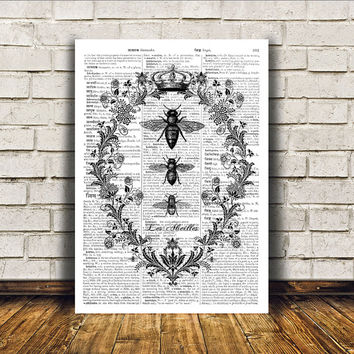 Bees poster Modern decor Insect art Dictionary print RTA2