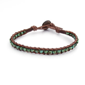 Turquoise Blue Green Leather Bracelet Mens Womens Rustic Western Southwestern Friendship Boho Bohemian Chic
