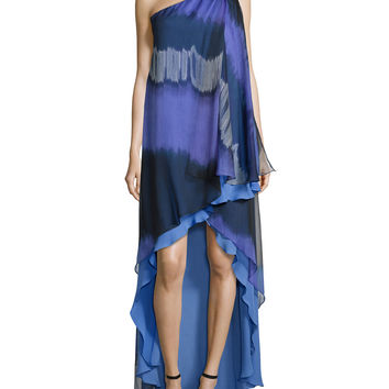 Women's One-Shoulder Striped Ombre Caftan Gown - Halston Heritage - Wstra dip dye prn