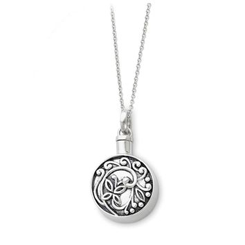 Rhodium Plated Sterling Silver Butterfly Ash Holder Necklace, 18 Inch