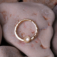 SEPTUM RING / 14K Yellow Gold Filled - 16 gauge with 3mm pearl (or your choice of stone). Handcrafted