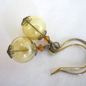 Hollow Glass Bead Earrings by 636designs on Etsy