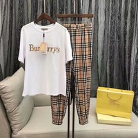 """Burberry"" Women Casual Fashion Letter Embroidery Short Sleeve T-shirt Tartan Leisure Pants Trousers Set Two-Piece Sportswear"