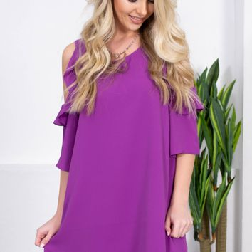 Rachel Off Shoulder Ruffle Dress| Purple