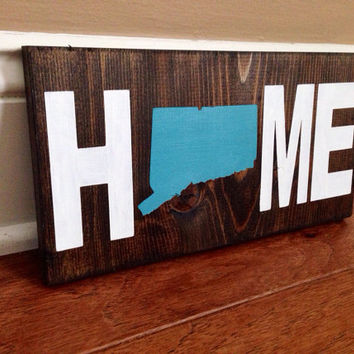 Custom Home State Wood Sign, Choose State, Stained and Hand Painted, Personalize, Home decor, State decor, Home Sign, State on Wood