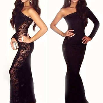 Vestidos Femininos Mermaid One-Shoulder Black Lace Bodycon Sexy Maxi Ball Gown 2015 New Dress Patchwork = 1956831812
