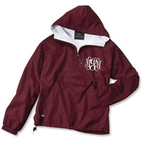 Maroon Monogrammed Personalized Half Zip Rain Jacket Pullover by Charles River Apparel