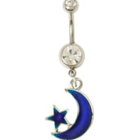 14G Steel Moon & Star Mood Navel Barbell