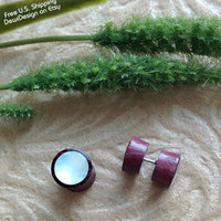 Faux Gauges - Faux Plugs - Exotic Purpleheart - Mother of Pearl - Naturally Organic - Hand Carved -Tribal