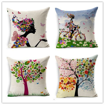 Customized Design Fashion Plant Style Printed Pillow Bed Sofa Cushion Home Decorative Throw Pillow Fundas Para Almofadas Cojines