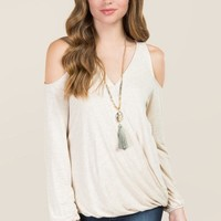 Joleen Long Sleeve Surplus Cold Shoulder Top