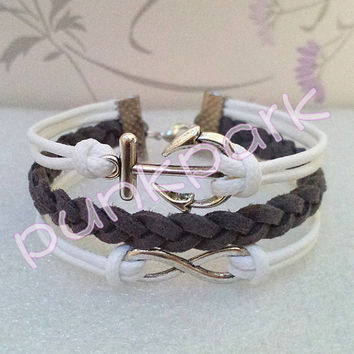 Infinity Bracelet-Anchor Bracelet- White Wax Cords and Gray Braid Bracelet.