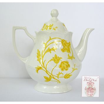 Vintage English Ironstone Yellow Scrolls & Vines Teapot Tea Pot Meakin