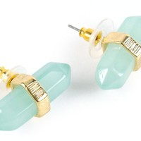 Stone + Locket Mint Crystal Stud Earrings