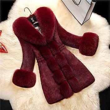 Solid Color Faux Fur Collar Oversized Women Teddy Coat