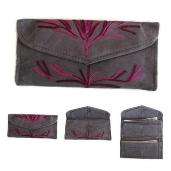 Women Envelope Leather Wallet With Card Holder Grey Embroidered Purse HANDMADE