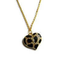 Leopard Print Heart Charm Necklace, Gold, Black, Silver
