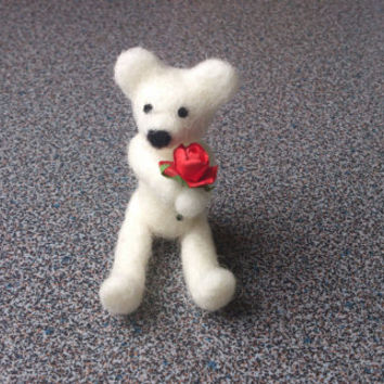 Needle felted miniature white miniature teddy bear with red rose