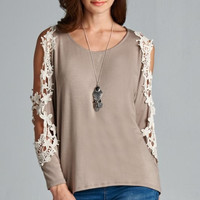 Floral Lace Patch Top With Cutout Sleeve - Mocha