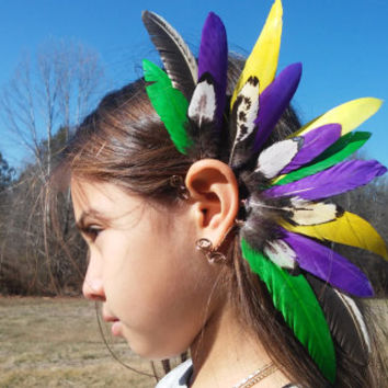 Feather Earcuff, Bird of Paradise, feather ear cuff,  feather, feather earring, free people, Native, american, style, Indian, Mardi Gras