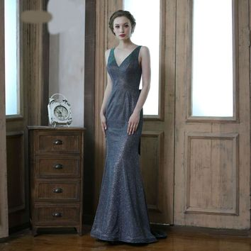 Sexy Evening Dresses for Women V-neck Sleeveless Backless Bow Simple Prom Dress Shiny Party Gown