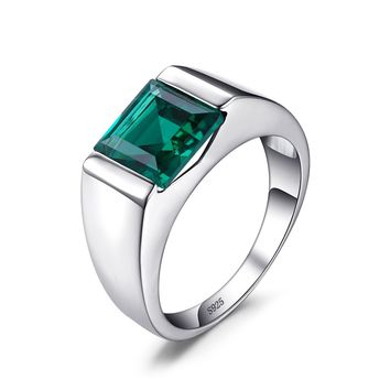 Jewelry palace Men's Created Alexandrite Sapphire Created Ruby Nano Simulated Emerald 925 Sterling Silver Ring