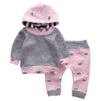 Toddler Infant Baby Girl Clothes Set Striped Cartoon Hooded Tops+Pants Outfit