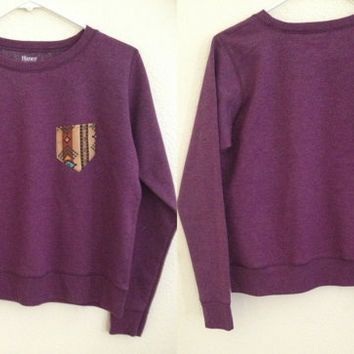 Purple Tribal Pocket Crewneck