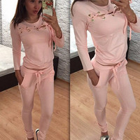 Pink Lace-Up Detail Long Sleeve Sports Suit