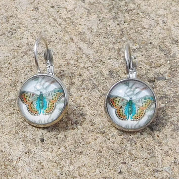 Butterfly Earrings Small Domed Silver Ear Wires Hippie Jewelry Boho Bohemian
