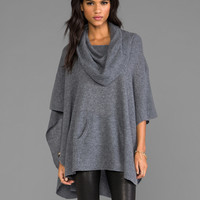 360 Sweater Laurel Cashmere Poncho in Brown