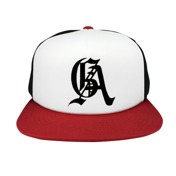 OE Supreme Net Snapback - Red/Wht/Blk