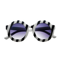 Designer Retro Oversized Black White Stripes Round Sunglasses R1615