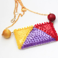 Geometry Sequin Necklace, Colorful Chain Necklace, Statement Women Jewelry, Sequins Embroidered Felt, Bright Triangle Necklace