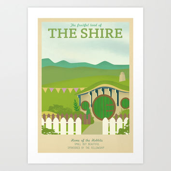 Retro Travel Poster Series - The Lord of the Rings - The Shire Art Print by Teacuppiranha