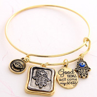 Bangle Charm Bracelet - Hand Evil Eye - Gold or Silver