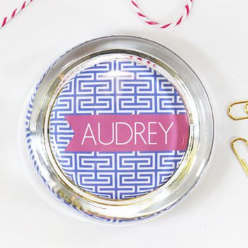 Personalized School Supplies Custom Paperweight Blue and Pink Dorm Room Decor Greek Key Pattern Teacher Gifts Graduation Gifts Paper Weight