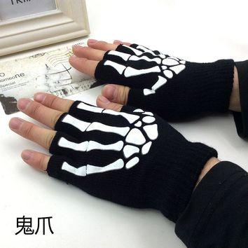 Black punk Halloween skeleton sweater Sexy Disco dance costume party fingerless short gloves arm warmer free shipping retail