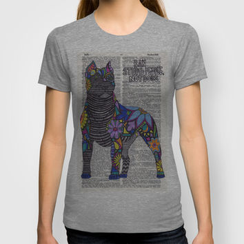 Whimsical Pitbull Dancing on Words T-shirt by Georgie Pearl Designs | Society6