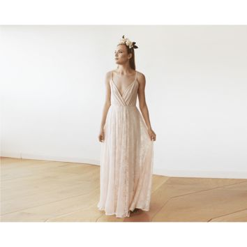 Pastel Pink Lace Wrap Maxi Dress with straps 1146