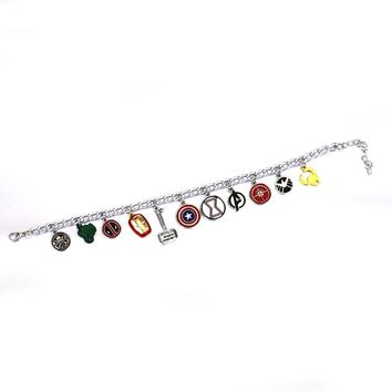 Free Shipping10 pc/lot Avengers Superhero American Captain Iron Man Spiderman Thor's Hammer star charm Bracelet&bangles jewelry