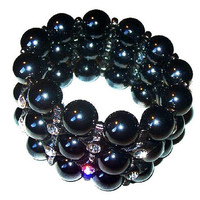 "Black Crystal Bead Bracelet Expansion Cuff Glass Stones Big 2"" W Vintage"