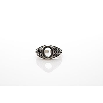 Frame Antique Silver Plated Adjustable Ring