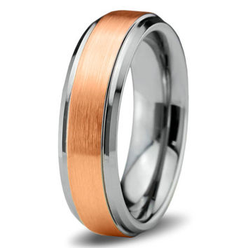 Rose Gold Wedding Band Ring Tungsten Carbide 6mm 18K Tungsten Brushed Ring Man Wedding Band Male Women Custom Laser Engraving Anniversary