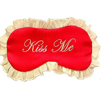 "Silk Satin Sleep Mask ""Kiss Me"""